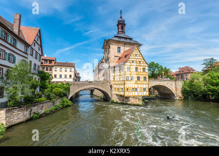 Bamberg, Germany - May 22, 2016: Historical city hall of Bamberg on the bridge across the river Regnitz, Bamberg, - Stock Photo