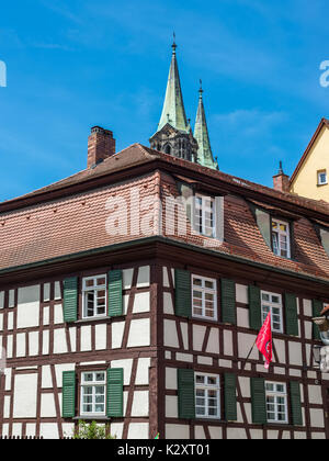 Bamberg, Germany - May 22, 2016: Traditional half-timbered colorful house close-up in Bamberg, Germany. - Stock Photo