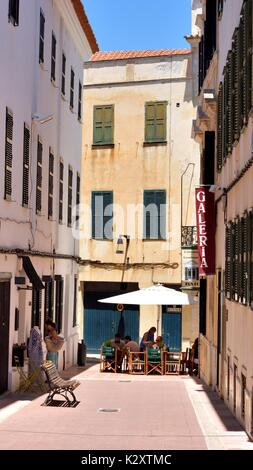 Street cafe restaurant restaurants mahon menorca minorca - Stock Photo