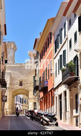 Mahon old town Menorca Minorca Spain - Stock Photo