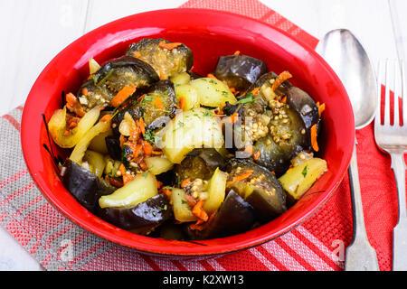 Vegetable sauce with eggplant and paprika. Studio Photo - Stock Photo