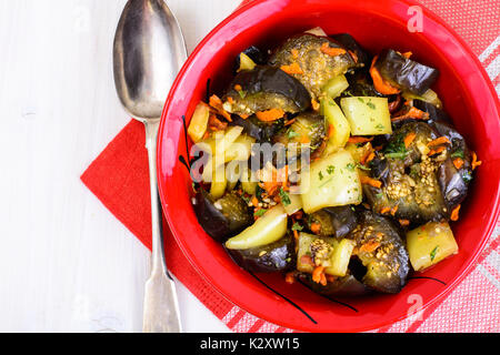 Vegetable sauce with eggplant and paprika. Studio Photo - Stock Photo