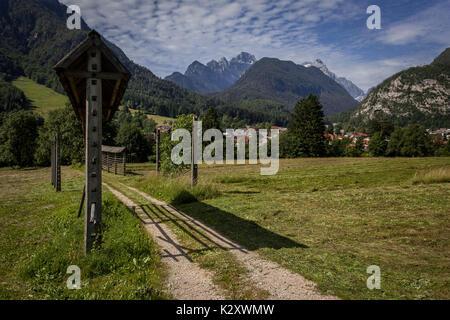 Hayrack in the Mojstrana village, the doorway to Trigav mountain - Stock Photo