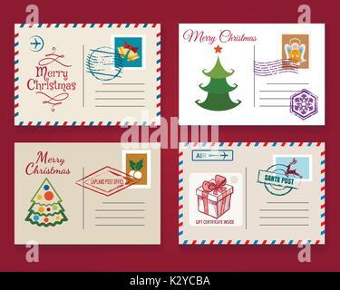 Xmas postcard template set. Vector vintage merry christmas holiday postal cards - Stock Photo