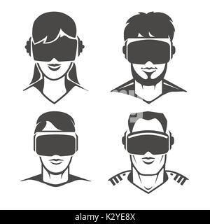 Human heads with VR headset icons. Virtual reality glasses or oculus goggles signs, vector illustration - Stock Photo