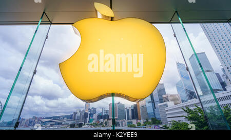 interior Apple store in Central District, Hong Kong, China - Stock Photo