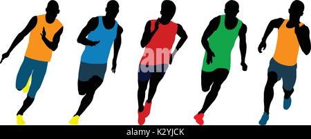 set athletics runners sprinters running colored silhouettes - Stock Photo