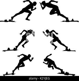 set athletics runners sprinters starting blocks - Stock Photo