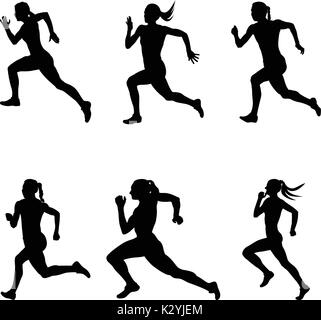 set sprint woman runners running vector illustration - Stock Photo