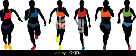 set athletics woman runners running colored silhouettes - Stock Photo