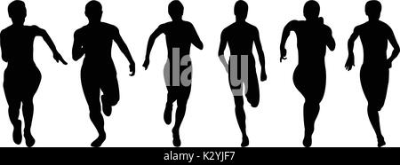 set athletics woman runners running black silhouettes - Stock Photo