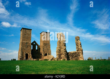 Reculver Roman Fort and towers of Saint Mary's Church in Thanet in Kent in England in Great Britain in United Kingdom - Stock Photo