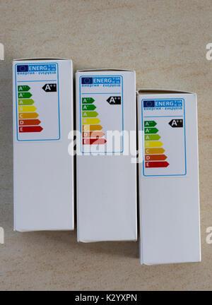 A++ energy efficiency label on LED lamp box UK - Stock Photo