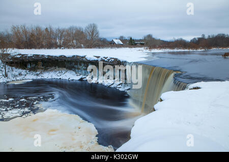 Frozen waterfall in winter time. Estonia. - Stock Photo