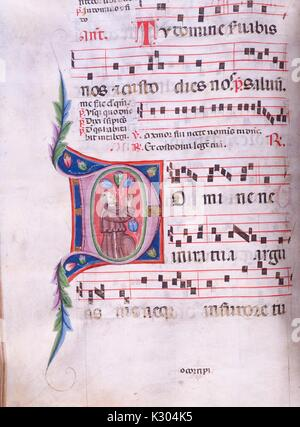 Illuminated manuscript page of song with man rejoicing, from the 'Incipit antiphonarium nocturnum, ' a 15th century - Stock Photo