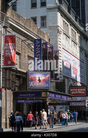 Broadway Theaters on 44th Street, Times Square, NYC, USA - Stock Photo