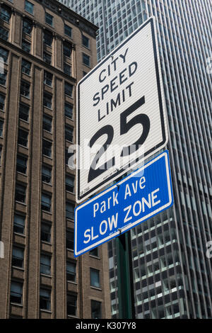 City Speed Limit 25 Sign on Park Avenue, NYC, USA - Stock Photo