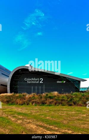 New Terminal 2, T2 Criochfort Dublin International Airport, designed by architects Pascall & Watson. Blue blu sky, - Stock Photo