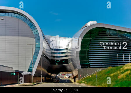 New Terminal 2, T2 Criochfort Dublin Interenational Airport, by architects Pascall & Watson. Clear blue blu sky, - Stock Photo