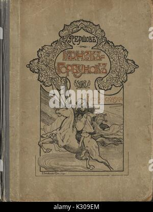 A cover of a Russian fairy tale entitled 'The Little Humpbacked Horse' with a knight on the horse by P. Ershov, - Stock Photo