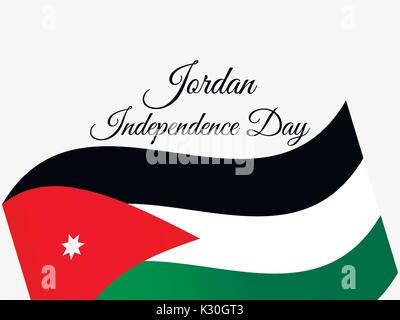 Jordan Independence Day. Jordan flag celebration banner. Vector illustration - Stock Photo