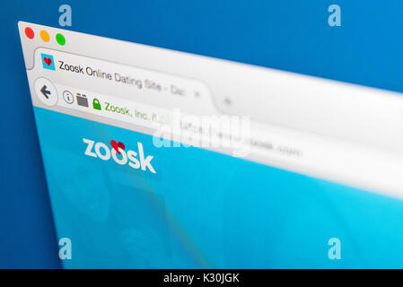 LONDON, UK - AUGUST 7TH 2017: The homepage of the website for Zoosk, the online dating service, on 7th August 2017. - Stock Photo
