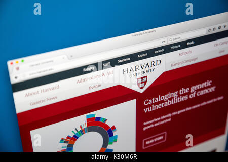 LONDON, UK - AUGUST 7TH 2017: The homepage of the official website for Harvard University - located in Massachusetts, - Stock Photo