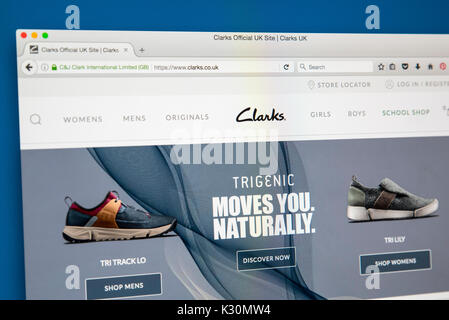 LONDON, UK - AUGUST 10TH 2017: The homepage of the official website for Clarks, the British-based shoe manufacturer - Stock Photo