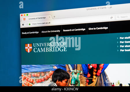 LONDON, UK - AUGUST 10TH 2017: The homepage of the official website for the University of Cambridge, on 10th August - Stock Photo