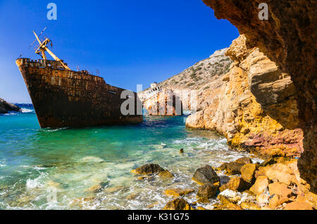 Old ship wreck in Amorgos isalnd,Greece. - Stock Photo