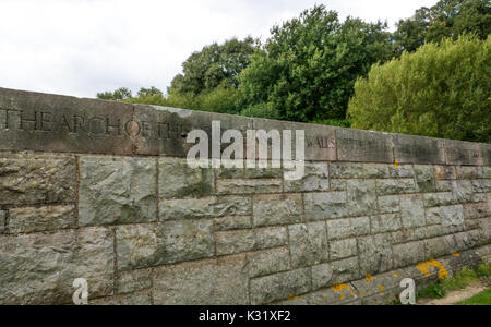 Detail of inscription on stone wall, Hopes Reservoir dam, built of stone from demolished Calton Jail, Edinburgh - Stock Photo