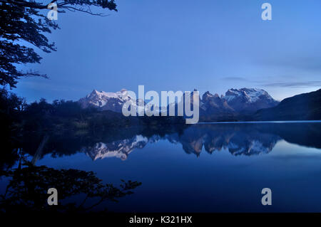 morning at Lago Pehoe, Torres del Paine national park, Chile - Stock Photo