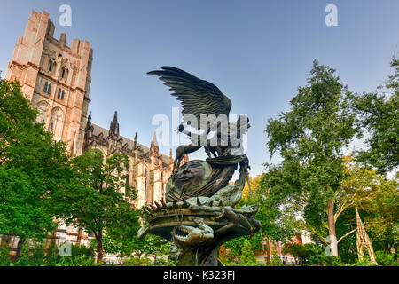 Peace Fountain located next to the Cathedral of Saint John the Divine in Morningside Heights in New York. - Stock Photo