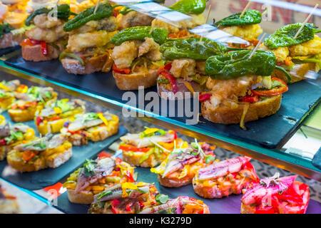 Pintxos at tapas bar. Santander, Cantabrian Sea, Cantabria, Spain, Europe - Stock Photo