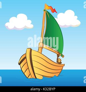 Colorful Boat Illustration for kid book - Vector Illustration - Stock Photo