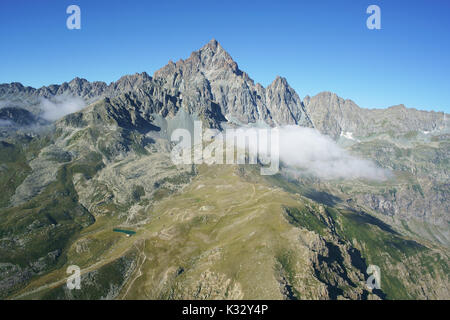 MONVISO (3841m amsl) (aerial view from the North East). Province of Cuneo, Piedmont, Italy. - Stock Photo