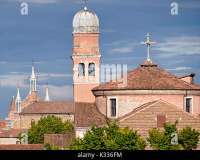Churches of Venice, a famous city in northeastern Italy and the capital of the Veneto region. The lagoon and a part - Stock Photo