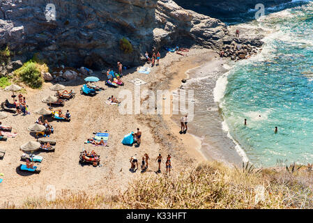 Cartagena, Spain - July 20, 2017: Picturesque Cala del Barco beach. Cartagena, Costa Blanca. Spain - Stock Photo