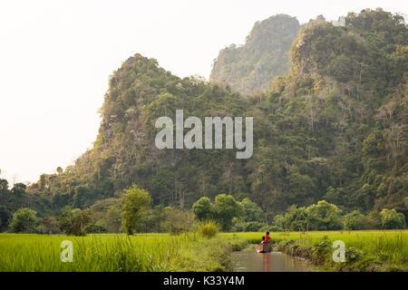 Landscape near Sa-dan Cave, Hpa-an, Kayin State. Myanmar, Asia - Stock Photo