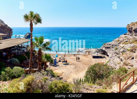 Picturesque Cala del Barco beach. Cartagena, Costa Blanca. Spain - Stock Photo