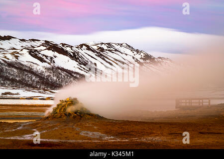 Steaming Fumaroles At Hverarönd, Near Myvatn, Iceland - Stock Photo