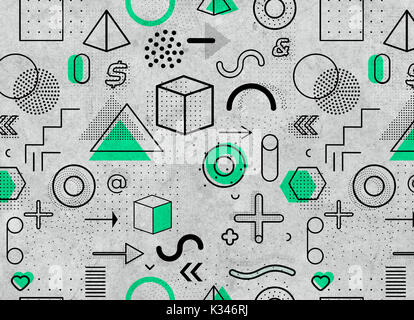Geometric memphis pattern for fashion and wallpaper. Universal colorful decorative geometrical elements and forms - Stock Photo