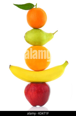 Fruits  in a row isolated on white - Stock Photo