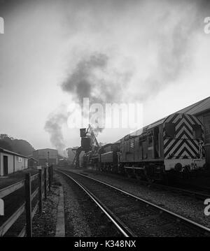 Early Morning at Grossmont on the North Yorkshire Moors Railway, UK - Stock Photo