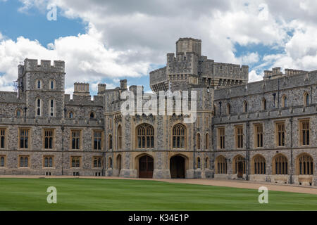 Courtyard garden and buildings of Windsor Castle near London, England - Stock Photo