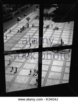 High Angle View of Gendarmenmarkt through Window, Berlin, Germany - Stock Photo