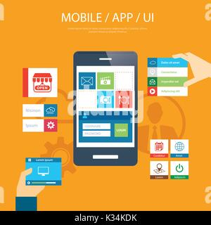 mobile app and ui element flat design - Stock Photo