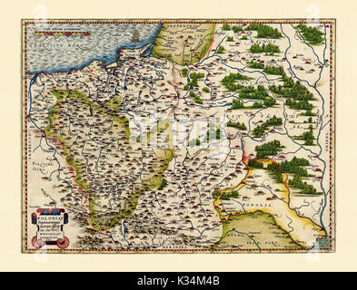 Old map of Poland. Excellent state of preservation realized in ancient style. All the graphic composition is inside - Stock Photo