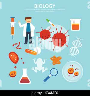 biology background education concept flat design - Stock Photo