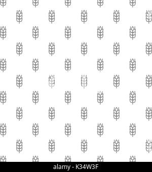 Unique digital wheat ears seamless pattern with various icons and symbols on white background flat vector illustration - Stock Photo
